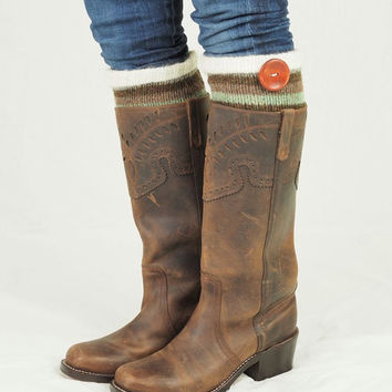 Boot Socks-Buy 2 get 1 FREE-Boot Cuffs-Knee High Socks-Boot Topper-Boot Sock-multi color stripe wool with faux fur