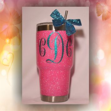 Monogram Only - STAINLESS STEEL MUG - glitter dipped or painted - coffee mug - tumblers