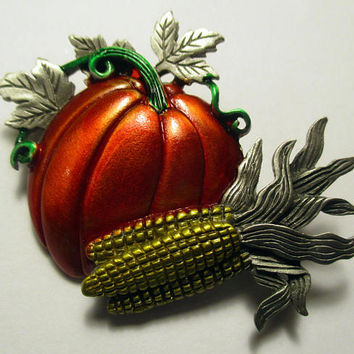 Vintage JJ pin- Harvest Fall Pumpkin corn- Artifacts 1986 collectible- unique gift under 20