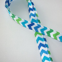 Lanyard  ID Badge Holder - Blue and Green crosshatch Chevron - Lobster clasp and key ring Zig Zag - ZigZag