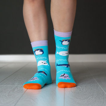 Socks Sea Monsters | Socks | Zesox | Cool Socks | Cute Socks | Kawaii Socks | Sea gifts | Funny Socks | Geek Socks | Hipster socks