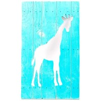 Teal Giraffe Cut-Out Wood Sign | Hobby Lobby