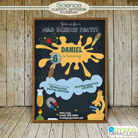 Scientist Invitation, Printable Mad Scientist Birthday Invite, Kids Science Party Invitation Card / custom, digital