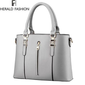 High Quality PU Leather Women Shoulder Bag Zipper Spring And Summer Handbags Cross Body Bags 2016 New Arrivals Herald Fashion