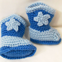 Baby Cowboy Boots, Light Blue, Medium Blue, Baby Boy Gift, Baby Shower Gift, Handmade, Baby Boots, Made in the USA, #217