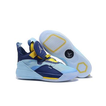 Air Jordan 33 Blue Yellow Men Basketball Shoes - Best Deal Online