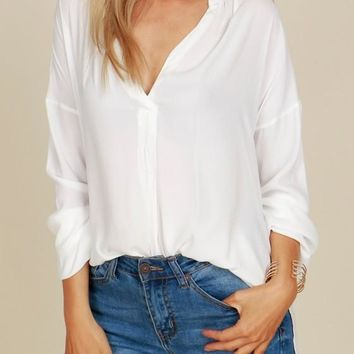White Irregular Double Slit High-low Deep V-neck Going out Blouse