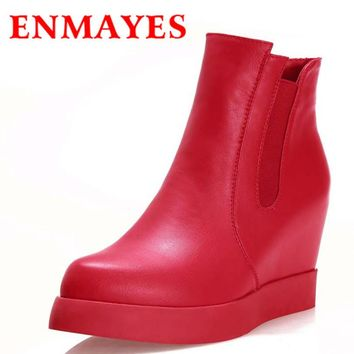 ENMAYES Martin Boots New Arrive Fashion Wedges High Heels PU Ankle Boots Pointed Toe B