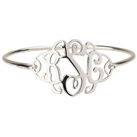 Monogram Bangle Bracelet .925 Sterling Silver
