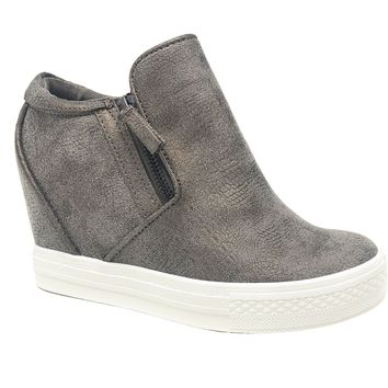 Not Rated Timmibelle Grey Wedge Sneakers