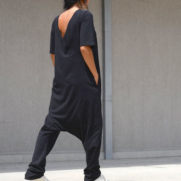 ON SALE Black Jumpsuit / Loose Jumpsuit / Maxi black jumpsuit / Oversize jumpsuit / Black plus size jumpsuit / woman loose jumpsuit