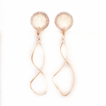 Pearl Crushed Glass Dangle Rose Gold Plugs / 6g, 4g, 2g, 0g, 00g, 1/2, 9/16 and 5/8inch / glass and rose gold gauges / wedding plugs
