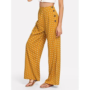 Side Button Polka Dot Wide Leg Pants