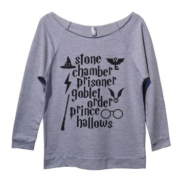 Stone Chamber Prisoner Goblet Order Prince Hallows Womens 3/4 Long Sleeve Vintage Raw Edge Shirt