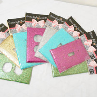Handmade Glitter Light Switch Plate Outlet Cover in Magenta, Aqua, or Green