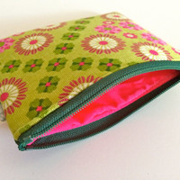 Coin Purse Coin Bag Small Cosmetic Clutch in Green Flower Power