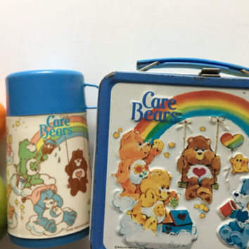 Vintage Aladdin Care Bears Metal Lunchbox with Thermos 1983