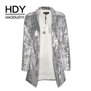 Trendy HDY Haoduoyi Autumn Fashion Women Silver Sequined Coats Turn-down Collar Long Sleeve Outwears Cardigan Jackets AT_94_13