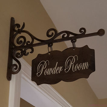 Custom Small Rectangular Shaped Metal Sign and Bracket - Powder Room, Laundry, Office, Pantry