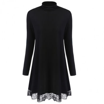 Fashion Women Turtleneck Long Sleeve Lace Trim Tunic Dress
