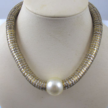 YSL Pearl Snake Necklace, 1980s Yves Saint Laurent Pearl Silver Gold Snake Link Collar Necklace, Haute Couture YSL Runway Designer Jewelry