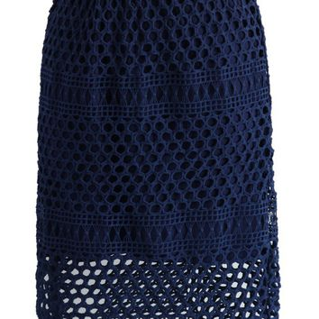 Dark Blue Crochet Pencil Skirt