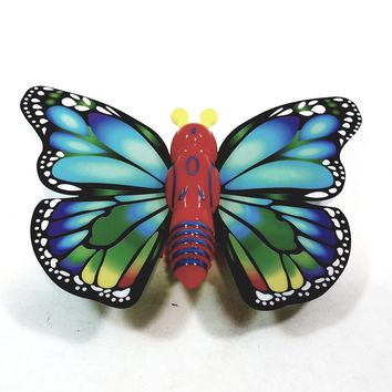"""Cute Insect Blue & Green Wing Mini Red Butterfly Moving 5.15"""" Wingspan Wind Up Plastic Figure Toy"""