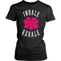 "Womens Soft Yoga Tee Shirt ""INHALE - EXHALE"""