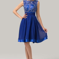 Blue Sleeveless Beads Lace Embroidered Cutoutout Back Homecoming Dress