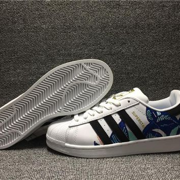 AUGUAU A307 Adidas Superstar Embroidery Casual Skate Shoes White Black Blue