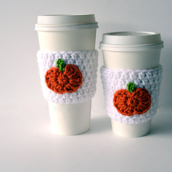 Pumpkin Coffee Sleeve, Pumpkin Spice, Knit Coffee Sleeve, Crochet Coffee Cozy, Fall Gift, Pumpkin Gift, Autumn Knits, Handmade Gift, Pumpkin