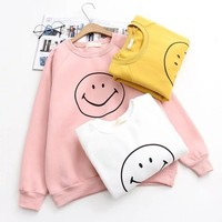 Fashion Cute Smiling face Print Round Neck  Long Sleeve Sweaters