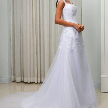 Double Shoulder A line Country Wedding Dresses Button back Court Train Bridal Wedding Gown