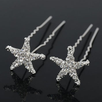 Small Crystal Encrusted Starfish Silver Plated Hair Pins