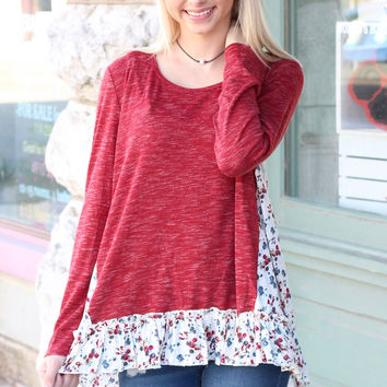 Peppered + Floral Ruffle Knit {Burgundy}