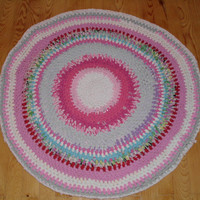 Rag Rug Crocheted Upcycled/round floor mat made from upcycled tshirts-90cm