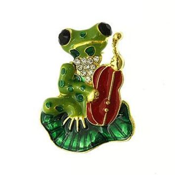 Frog Cello Glass Bead Crystal Stone Epoxy Pin And Brooch