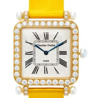 18K Yellow Gold Diamond and Pearl Large Pansy Retro Watch | Moda Operandi