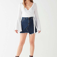 UO Celeste Bell-Sleeve Wrap Top   Urban Outfitters