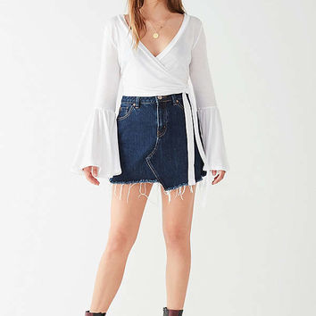 UO Celeste Bell-Sleeve Wrap Top | Urban Outfitters