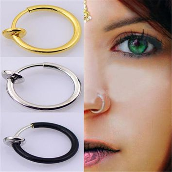 LMFHY3 3PCS/Set New Clip On Fake Nose Hoop Ring Ear Septum Lip Navel Earrings Body Non Piercing Black Jewelry