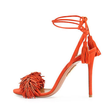 Drop shipping 2016 new aquazzura genuine suede fringe women high heels sandals 10cm heels
