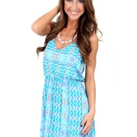 Elastic Heart Teal And Lavender Tribal Print Dress | Monday Dress Boutique