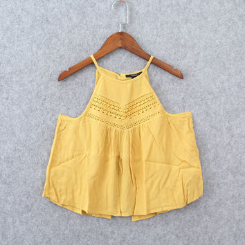 Fashion Sleeveless Narrow Shoulder Solid Color Hollow Lace Strap Short Vest Tops