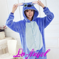Adults Flannel Onesuit Pijamas Cute Cartoon Animal Blue/Pink Stich Pajamas Sets Cosplay Party Costume Sleepwear For Men Women