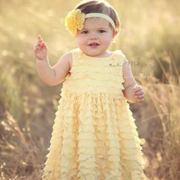 Newborn Headband, Eyelet Flower Headband, Baby Girls, Yellow Headband
