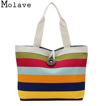 Fashion Lady Shopping Striped Random Shoulder Canvas Bag Tote Purse Bag Handbags Beach Ladies Messenger Simple Handbag