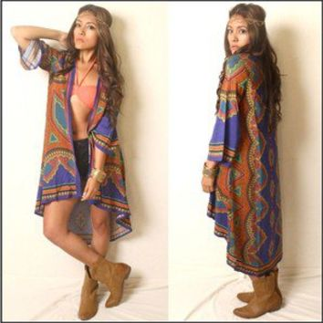 Vtg 70s Boho Indie Gypsy Hippie Kimono Jacket Cape Coverup Like Winter Kate Hot!