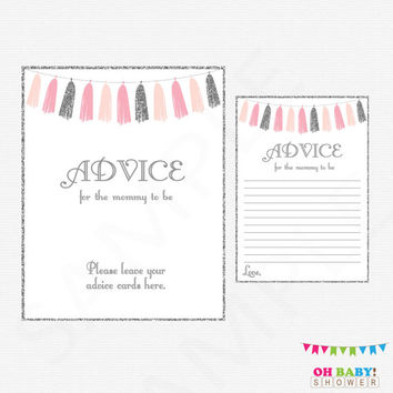Pink and Silver Baby Shower, Advice for the Mommy to Be, Silver Glitter, Advice Cards, New Parents, Girl Invitation Insert, Tassels, TASPS