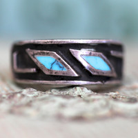 Sand-Cast Silver Turquoise Band Ring Navajo Stacking Boho Rings Sterling